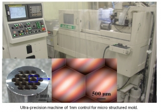 Ultra-precision machine of 1nm control for micro structured mold.