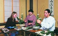 Learning the traditional Japanese art of flower arrangement